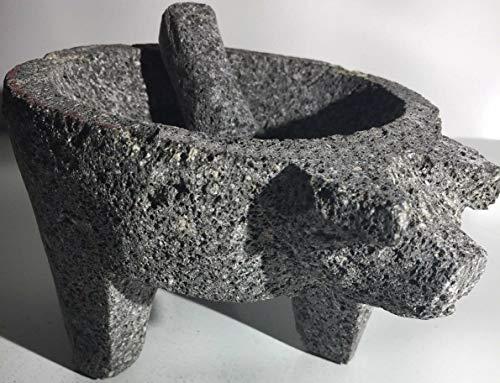 "Molcajete/Tejolote Authentic Mexican Mortar &Pestle Guacamole Salsa Maker 7"" Pig-Seasoning grinder-Apothecary bowl-stone-Crueset mortar and pestle-Unique marbles-Quacamole bowl set"