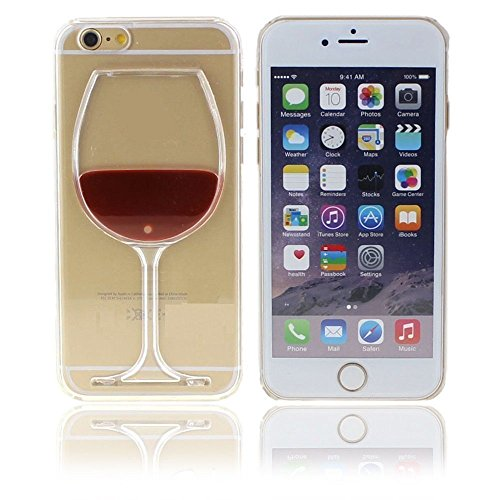 Neatday Iphone 6 Plus Case,Cute Red Wine Glass 3d Creative Design Hard Shell Liquid Flowing Dual Layer Hybrid Bumper Double Protection Clear Hard Back Case Cover For Iphone 6S Plus