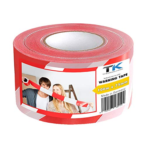 Absperrband | Flatterband | Warnband | Trassierband | Rot-Weiß | ausziehbar reißfest für Baustellenabsperrungen, Gefahrenstellen UVM. (1 Rolle 100 m Absperrband)