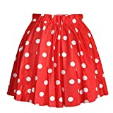 AvaCostume Women's High Waisted Candy Colors Polka Dot Skirt Red M