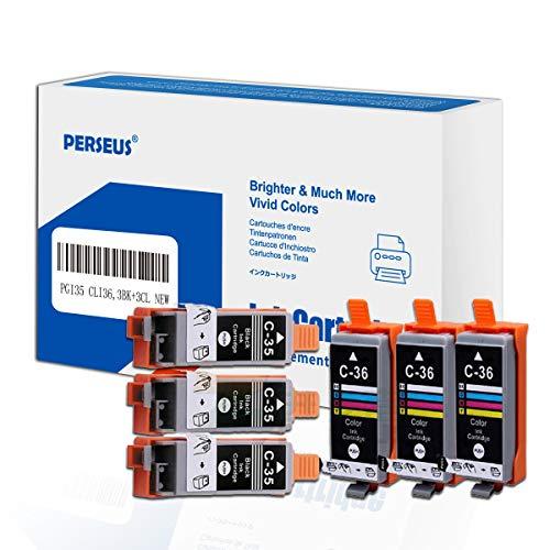 PERSEUS PGI-35 CLI-36 Reemplazo para Canon PGI-35 CLI36 Cartuchos de Tinta (6-Pack,3 Negro and 3 Tricolor) Compatible con Canon PIXMA IP100, IP110, IP100B Battery