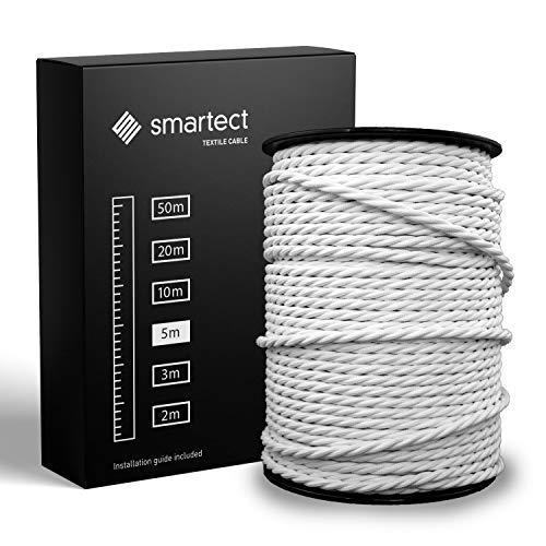 smartect Cable para lámparas de tela en color Blanco - Cable textil trenzado de 5 Metro - 3 hilos (3 x 0,75 mm²) - Cable de luz con revestimiento textil