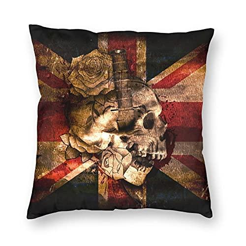 Funda de almohada cuadrada con diseño de bandera británica y calavera, 40 x 40 cm, fundas de almohada para el cuerpo, diseño híbrido para cama y coche