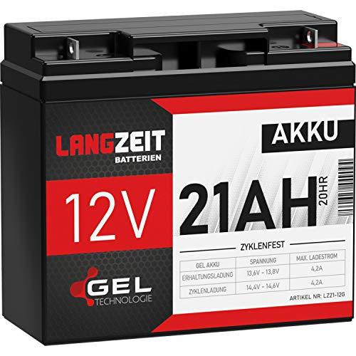 LANGZEIT Akku 12V 21Ah Gel Blei-Akku Profi USV Batterie extrem zyklenfest vorgeladen auslaufsicher ersetzt 18Ah 19Ah 20Ah LC-RD1217P LC-X1220P