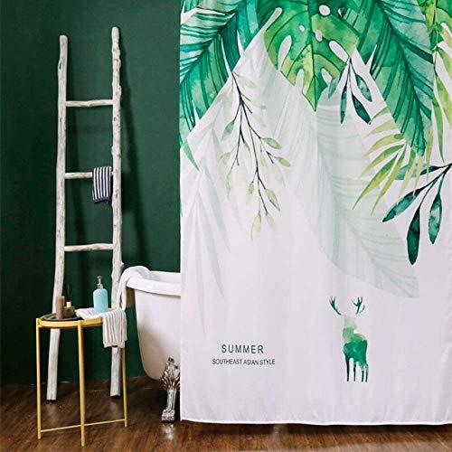 Gordijn Douchegordijn Anti-schimmel Waterdicht Badkamer Gordijnen Green Leaves Ontworpen Bath Curtain Tropical stijl douche douchegordijn Liner for Badkamer (Kleur: Groen, Maat: 150x180cm)