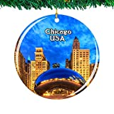 Weekino USA America Cloud Gate、Millennium Park Chicago Christmas Ornament City Travel Souvenir Collection Double Sided Porcelain 2.85 Inch Hanging Tree Decoration