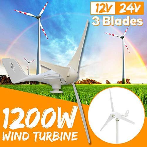 Raenhero 1200W 12V 24V Blanca del Viento generador de turbina eólica 3 Turbina de Potencia de Carga para la Familia o Acampar,12V