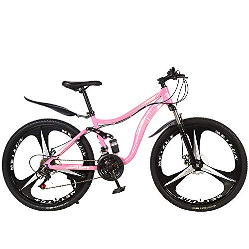 26' 21 Speed Lightweight Folding Mountain Bike,Women Men Travel Outdoor Adjustable Bicycle, Small Portable Bicycle Adult Student Road Bike,Pink