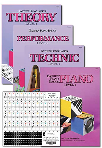 Bastien Piano Basics Level 1 Learning Set By Bastien - Lesson, Theory, Performance, Technique & Artistry Books & Juliet Music Piano Keys 88/61/54/49 Full Set Removable Sticker