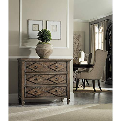 Check Out This Rustic Walnut 3-Drawer Diamond Decorative Chest Brown Traditional Transitional Rectan...