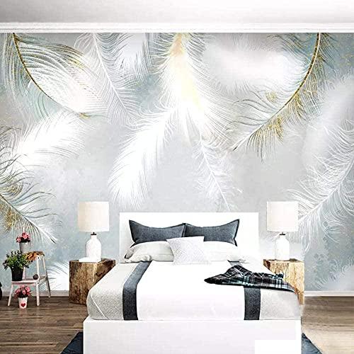 ZZXIAO Moderno minimalista pintado a mano plumas nórdicas pequeñas TV fresca sala de estar película y televisión papel tap Decoración Fotomural sala Pared Pintado Papel tapiz no tejido-430cm×300cm