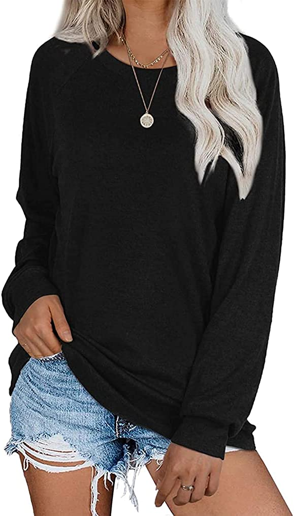 Womens Tunics Tops Fall Long Sleeve Loose Fit Casual Pullover Shirts