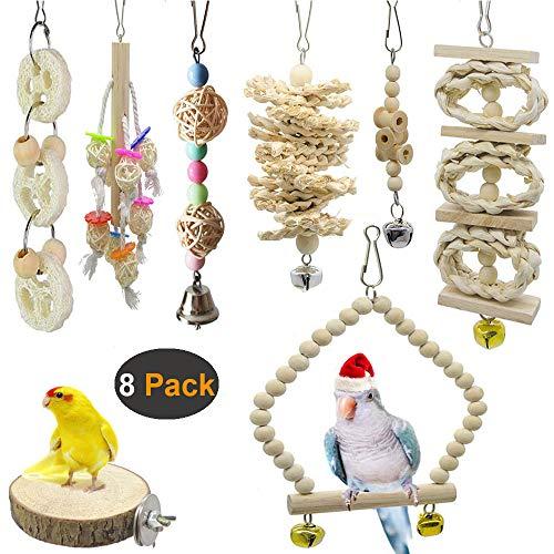 Aidiyapet 8 Packungen Vogelspielzeug, Vogelkäfig-Schaukel für Vögel und Papageien, Vogelkäfig-Spielzeuge - Natürliches Holz zum Aufhängen, für kleine Sittiche, Nymphensittiche, Sittiche