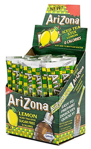 Arizona Lemon Iced Tea Stix Sugar-Free, 30 Count Box (Pack of 1), Low Calorie Single Serving Drink Powder Packets, Just Add Water for a Deliciously Refreshing Iced Tea Beverage
