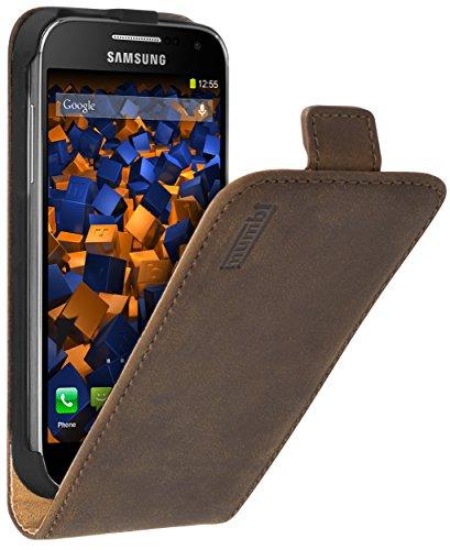 mumbi Echt Leder Flip Hülle kompatibel mit Samsung Galaxy S4 mini Hülle Leder Tasche Hülle Wallet, braun