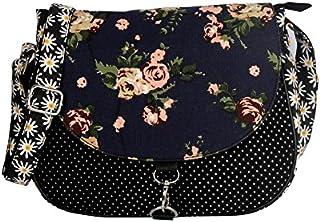 CRAFTS MY DREAM Women's Sling Bag (CMD 178/21_Black & Blue)