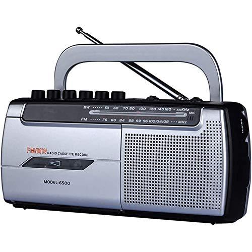 POOPFIY Tragbare Kassettenrecorder, Radio Player und Recorder mit AM/FM Radio Analogtuner, 3,5mm Kopfhörerbuchse, integriertes Mikrofon