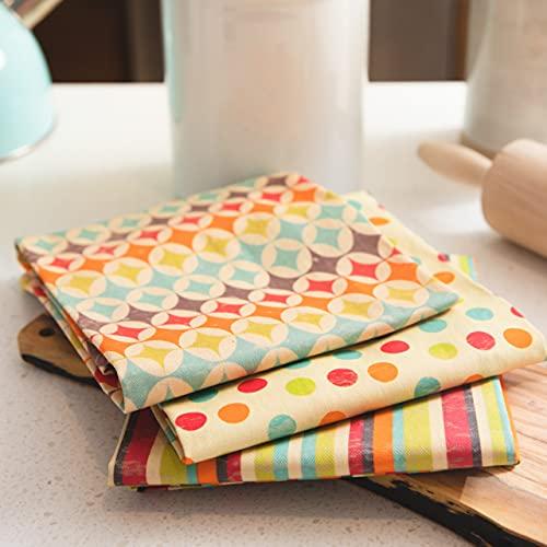 "NoteworthyDesigns Retro Kitchen Decor and Accessories, Vintage Kitchen Towels, 1950s Mid Century Modern Style Dish Cloths, Cotton, 18"" x 23"", 3 Pack"