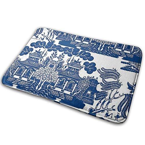 Yiwu Alfombra de baño de Espuma viscoelástica con Pintura de Paisaje de Gazebo Azul, Alfombra de baño Ultra Absorbente Antideslizante, 60x40 cm