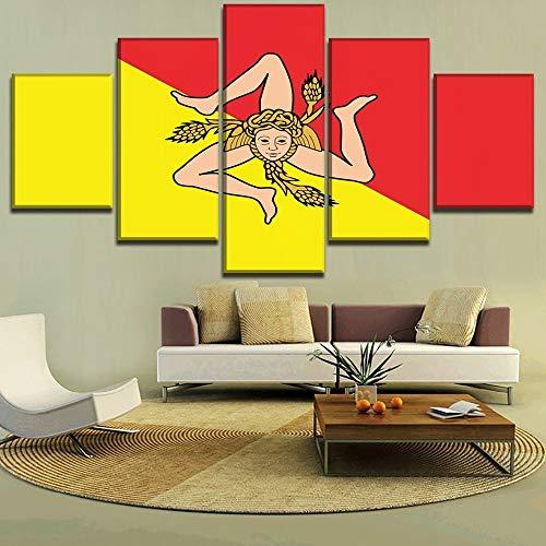 Moderne Leinwand Wandkunst Bild Hd Print Poster Home Dekorative Wohnzimmer 5 Stücke Flagge Von Sizilien Gemälde Modular(With Frame size)