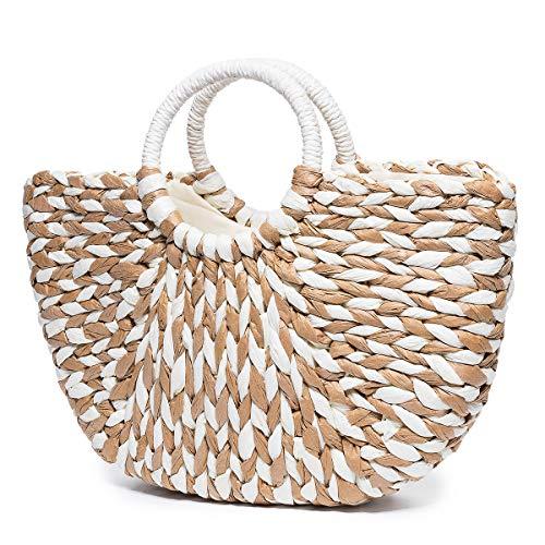 JOSEKO Bolso de playa de verano, bolso de papiro de dama, bolso de pla