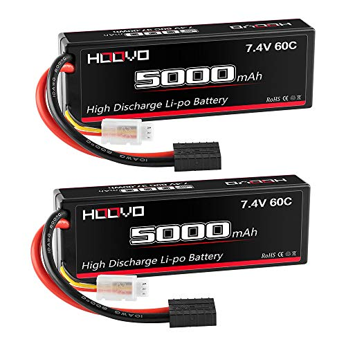 HOOVO 2S 5000mAh 7.4V 60C RC Lipo Battery Hard Case with Deans T and Tr Plug for RC Car Truck Truggy Buggy Tank RC Airplane Helicopter Boat Car Racing (2 Pack)