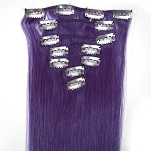 Beauty Shopping Purple Clip in Human Hair Extensions Purple Clip in on Highlights