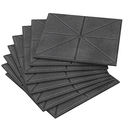 Acoustic Sound Absorbing Panels - 8 Pack Thick Noise Reducing High Density Padding, Lab Tested NRC 0.95, Decorative Wall Tiles, Dampening Treatment Better than Foam, 11.8'x 11.8'x 0.47' Gray