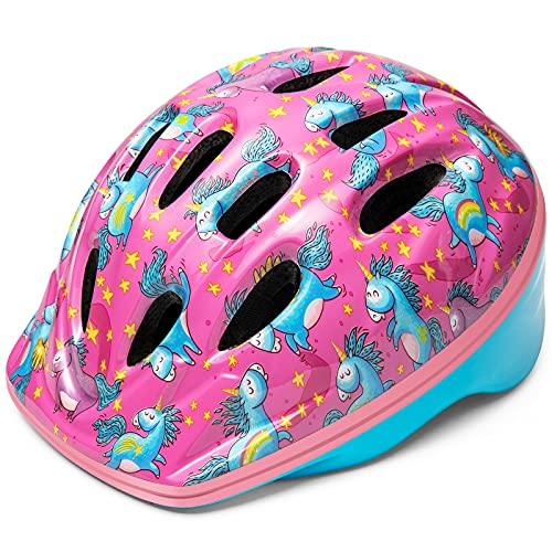 OutdoorMaster Toddler Kids Bike Helmet - Multi-Sport 2 Sizes Adjustable Safety Helmet for Children (Age 3-11), 14 Vents for Kids Skating Cycling Scooter - Unicorn,S