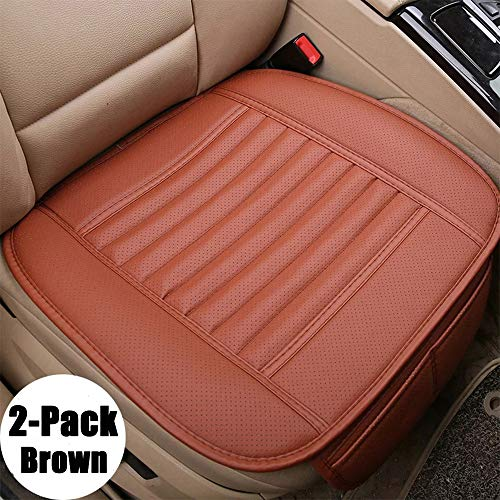 D-Lumina 2Pcs Breathable Leather Car Front Seat Cushion Cover Pad Mat Universal for Auto Interior Supplies Seat Bottom Protector, Black (21.5 × 24.06 Inch)
