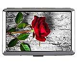 Caja de Cigarrillos de Acero Inoxidable de Plata, Flor de Rosa roja Rosa Titular de la Tarjeta de identificación de crédito