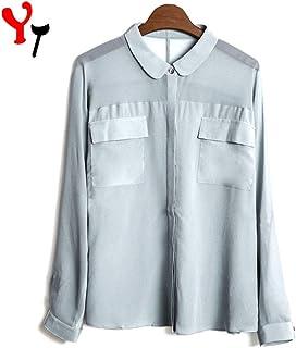 Chaps Camicia da Donna a Maniche Lunghe. in Cotone Tinto a