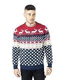 Noroze Maglione da uomo, motivo natalizio, lavorato a maglia, Rosso 2XL