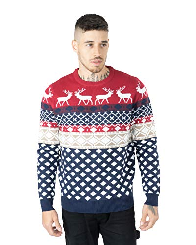 Noroze Maglione da uomo, motivo natalizio, lavorato a maglia, con cappellino in omaggio Rosso L