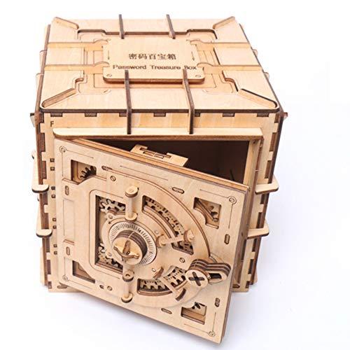 QERTYU Personalidad Modelo mecánico Caja de Bloqueo de Madera 3D Hechizo Insertar Hucha Juguete DIY Seguro de Madera Regalo para niños