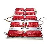 トラック 用 角型 12 LED サイド マーカー ランプ 12V 24V 兼用 10個 セット ホワイト アンバー レッド ブルー グリーン レインボー カラー 各種 ダンプ カー トレーラー デコトラ 等 リモコン ワーク ステー 割り込み ウインカー コンソール ボックス アーム プラグ 電球 変換 ステッチ ピラー ブーツ (レッド)