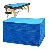 Bozikey 100PCS Disposable Massage Table Sheets, Disposable Bed Sheets for Massage Table, Spa Bed Covers for Esthetician, Tattoo, Waxing, Lash Bed, Salon Table, Non-Woven Fabric 71' x 31'(Blue)