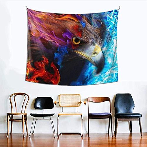 Tapiz hippie, diseño de águila de fuego para dormitorio, sala de estar, dormitorio, tapiz psicodélico para colgar en la pared, decoración étnica de 152,4 x 129,5 cm