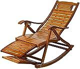 ZYYH Silla reclinable de bambú Mecedora de Madera con reposapiés telescópico y masajeador de pies, Silla Plegable para jardín, Tumbona, Silla de Siesta para Patio, balcón