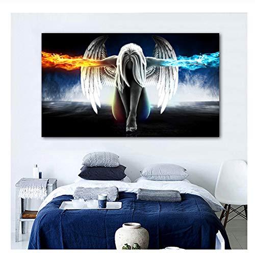 nr Anime Engel Mädchen Flügel EIS und Feuer Poster Wandkunst Bild für Wohnzimmer Schlafzimmer Dekoration Geschenk-60x120 cm Kein Rahmen