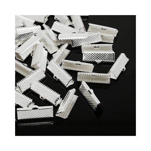 Iron Ribbon Ends Silver Tone Rectangle 8 x 20mm Pack of 50+