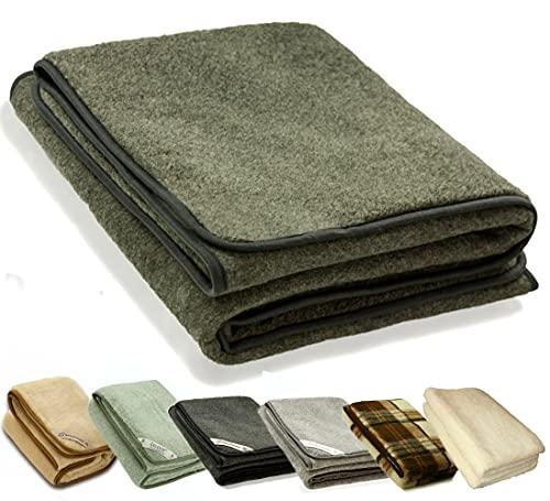 Zaloop 100prozent Schurwolle Merino Wolldecke Decke Wohndecke Bettdecke Tagesdecke Wolle (ca. 180 x 200 cm, grau)
