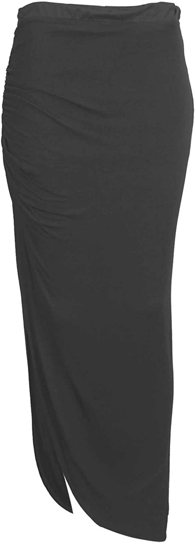 Baleza Women's Jersey Long Gipsy Gather Side Cut Out Maxi Skirt S/M 8-10 Black