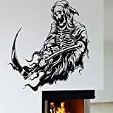 Tianpengyuanshuai Etiqueta de la Pared de Vinilo Reaper Familia Decoración Esqueleto Muerte Horror Pintura de la Pared Removible 48X63cm