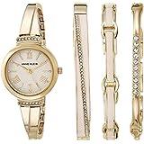 Anne Klein Women's Swarovski Crystal Accented Blush Pink and Gold-Tone Bangle Watch Set, AK/3414BHST
