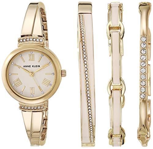 Anne Klein AK/3414BHST - Juego de reloj de pulsera para mujer, con cristales de Swarovski, color rosa y dorado