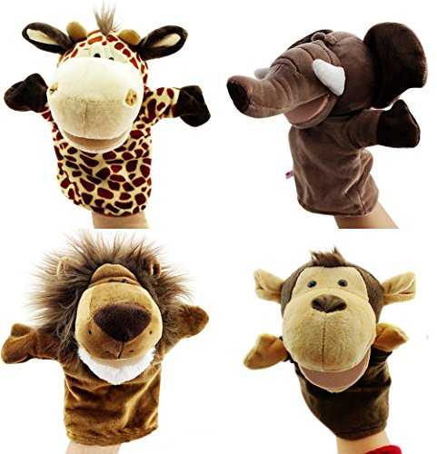 Caleson Zoo Friends Burattini a Mano (Set di 4) - Elefante, Giraffa, Leone e Scimmia (Grandi bocche mobili)