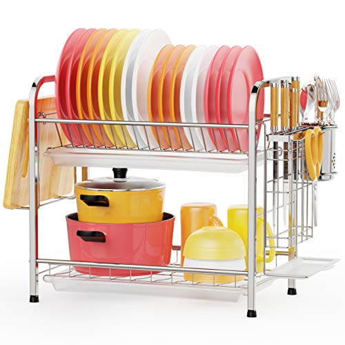 GSlife 2 Tier Stainless Steel Dish Drying Rack for $14.59 + Free Shipping w/ Prime or orders $25+