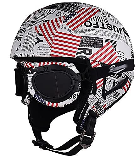 Retro Casco Moto Abierto Adultos Casco Moto Jet,ECE Homologado para Mofa Piloto Cruiser Chopper Scooter Biker Racing,3/4 Casco Moto con Visera para Mujer 1,55-60CM