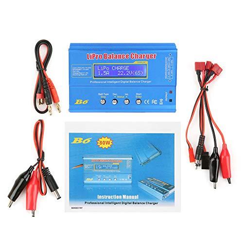 Fafeicy LiPo Cargador, B6 80W Digital LCD Balance Cargador, carga apto para batería NiMH RC(Without plug)